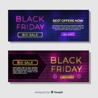 Coleção de banner de néon preto venda sexta-feira