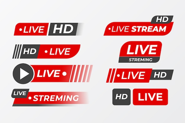 Coleção de banner de notícias de transmissões ao vivo