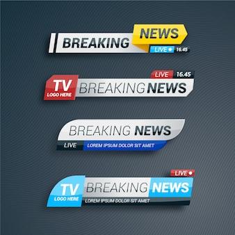 Coleção de banner de notícias de última hora