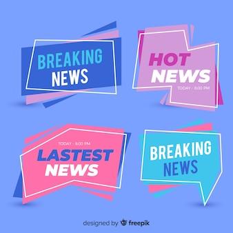 Coleção de banner de notícias plana mais recente colorido