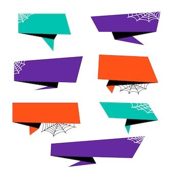 Coleção de banner de origami de halloween
