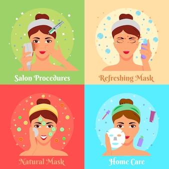 Coleção de banner de procedimentos cosméticos