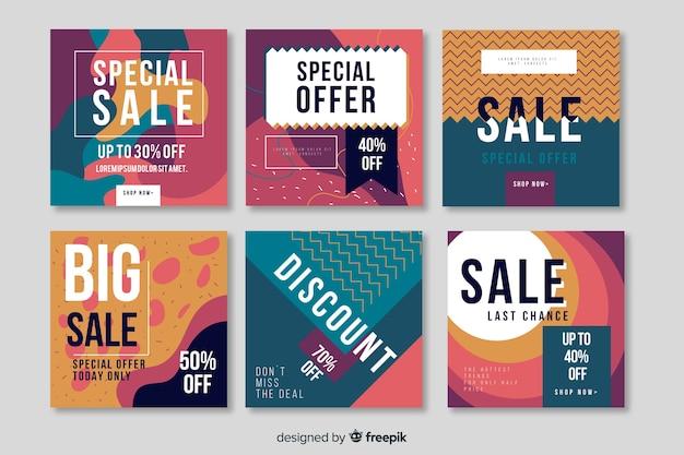 Coleção de banner de promoção de venda