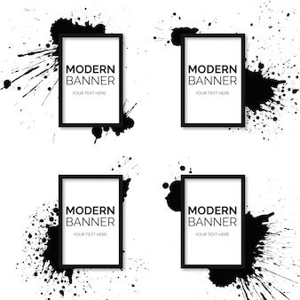 Coleção de Banner de quadro com salpicos de tinta preta