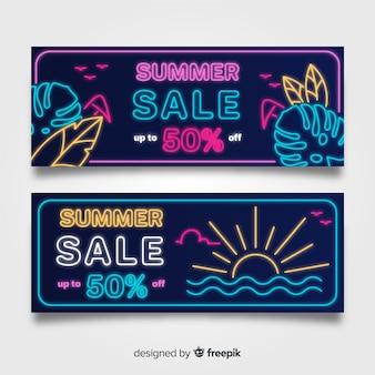 Coleção de banner de sinal de néon de venda de verão