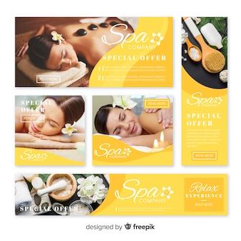 Coleção de banner de spa com foto