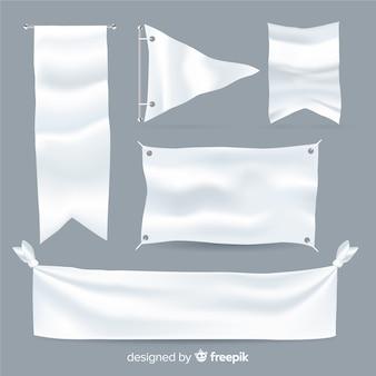 Coleção de banner de tecido branco