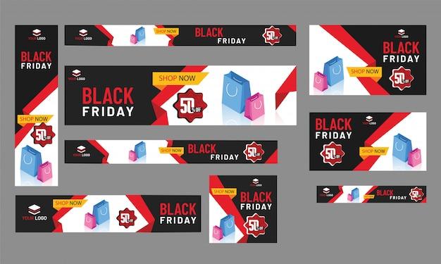 Coleção de banner de venda, cabeçalho e design de cartaz com 50% dis