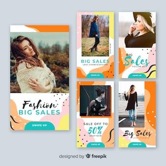 Coleção de banner de venda com foto