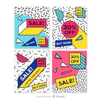 Coleção de banner de venda de estilo memphis
