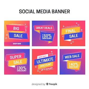 Coleção de banner de venda de mídia social