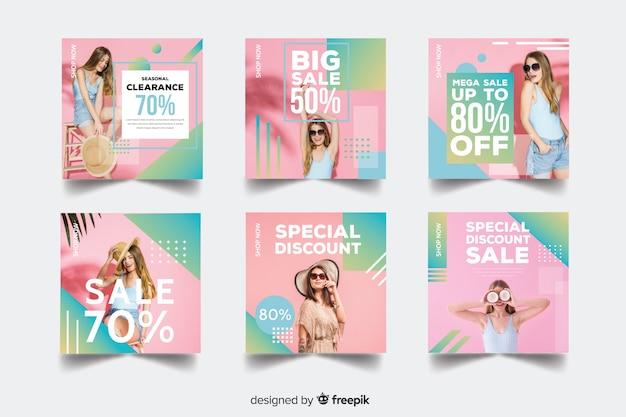 Coleção de banner de venda de moda com foto