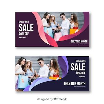 Coleção de banner de venda de moda