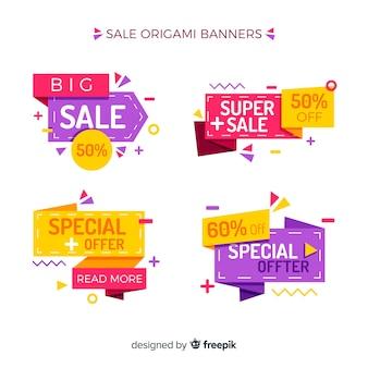 Coleção de banner de venda de origami