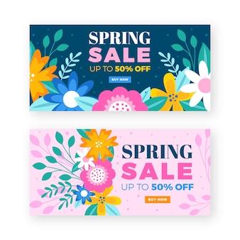 Coleção de banner de venda de primavera de design plano