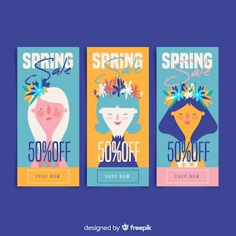 Coleção de banner de venda de primavera