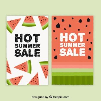 Coleção de banner de venda de verão com melancia
