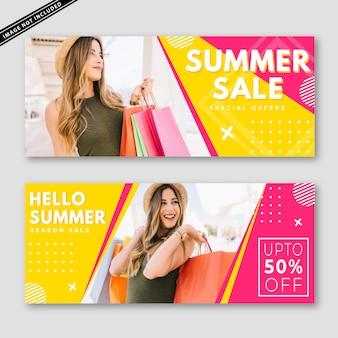 Coleção de banner de venda de verão