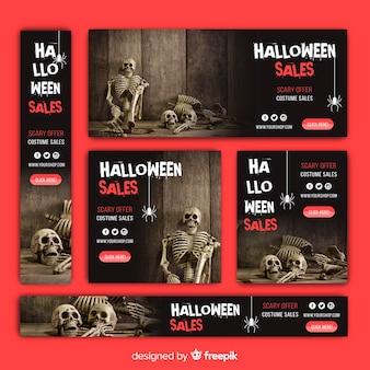 Coleção de banner de venda de web de halloween