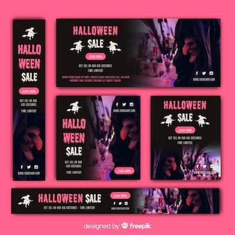 Coleção de banner de venda de web halloween com imagem