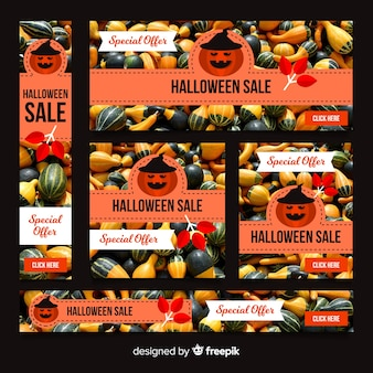 Coleção de banner de venda de web halloween criativo