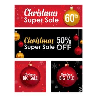 Coleção de banner de venda feliz natal