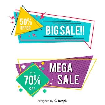 Coleção de banner de venda geométrica