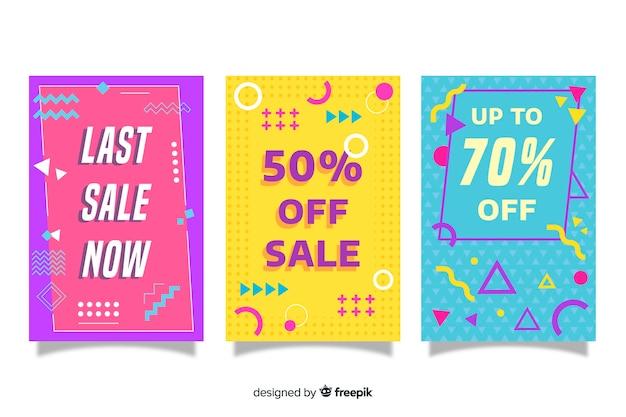 Coleção de banner de venda no estilo de memphis