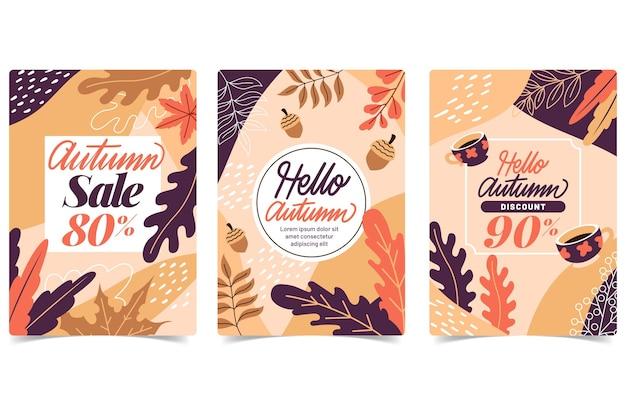 Coleção de banner de venda outono design plano