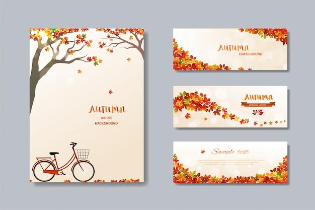 Coleção de banner de venda outono natureza com folhas coloridas