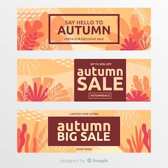 Coleção de banner de venda outono plana