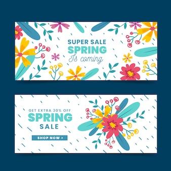 Coleção de banner de venda primavera desenhados à mão