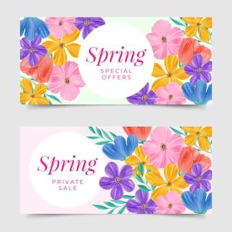 Coleção de banner de venda primavera