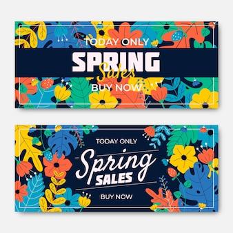 Coleção de banner de venda promocional de primavera de design plano