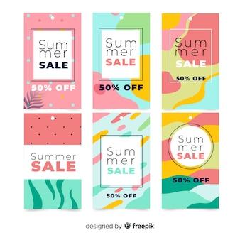 Coleção de banner de venda verão colorido
