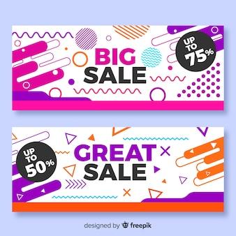 Coleção de banner de vendas de estilo de memphis