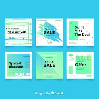 Coleção de banner de vendas de gradiente