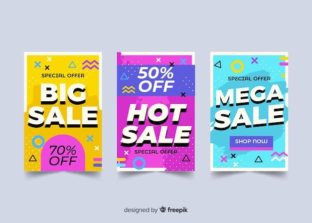 Coleção de banner de vendas de memphis