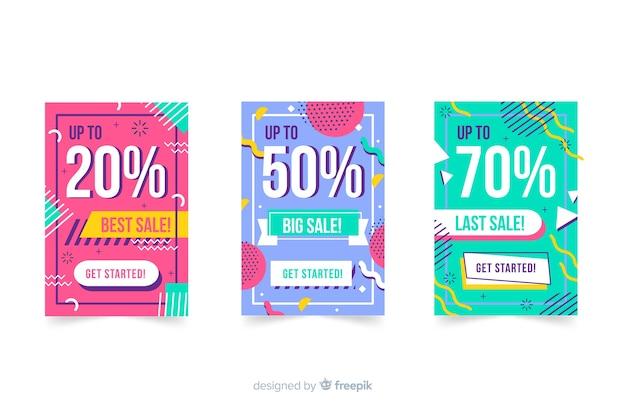 Coleção de banner de vendas estilo memphis