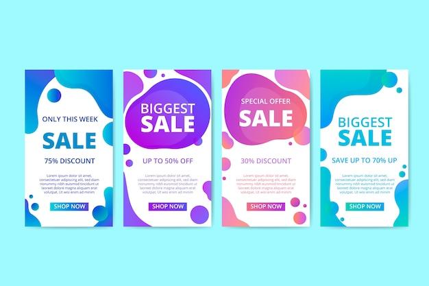 Coleção de banner de vendas líquido colorido