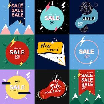 Coleção de banner de vendas