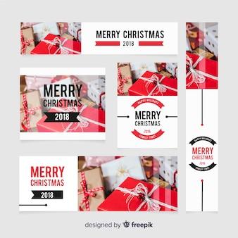 Coleção de banner de web de natal com caixas de presente
