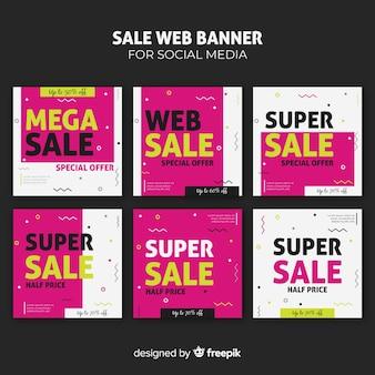 Coleção de banner de web de venda
