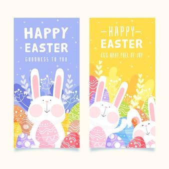 Coleção de banner do coelho primavera dia da páscoa