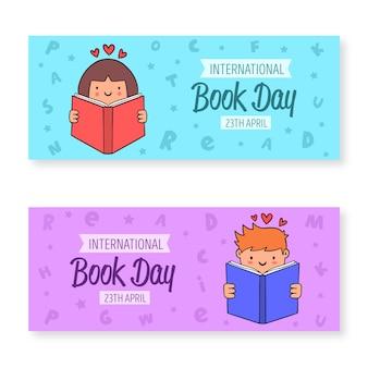 Coleção de banner do dia mundial do livro