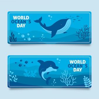 Coleção de banner do dia mundial dos oceanos