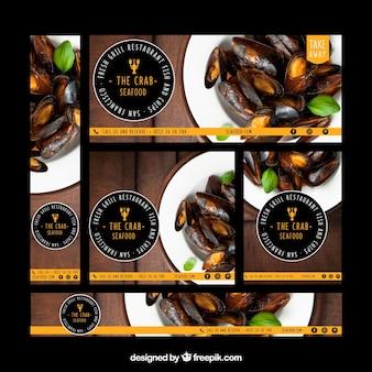 Coleção de banner do restaurante web com foto