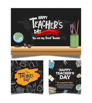 Coleção de banner feliz dia dos professores