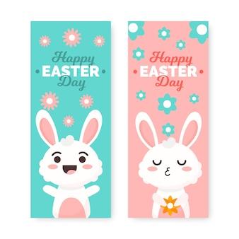 Coleção de banner festivo coelho dia da páscoa