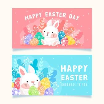 Coleção de banner folhagem e coelho dia da páscoa